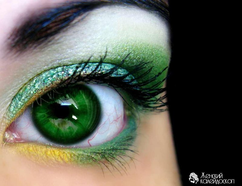 Как не ярко зеленые глаза сделать ярко зелеными