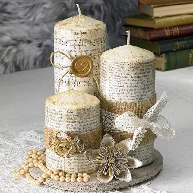 Декупаж свечи сделанной своими руками 52