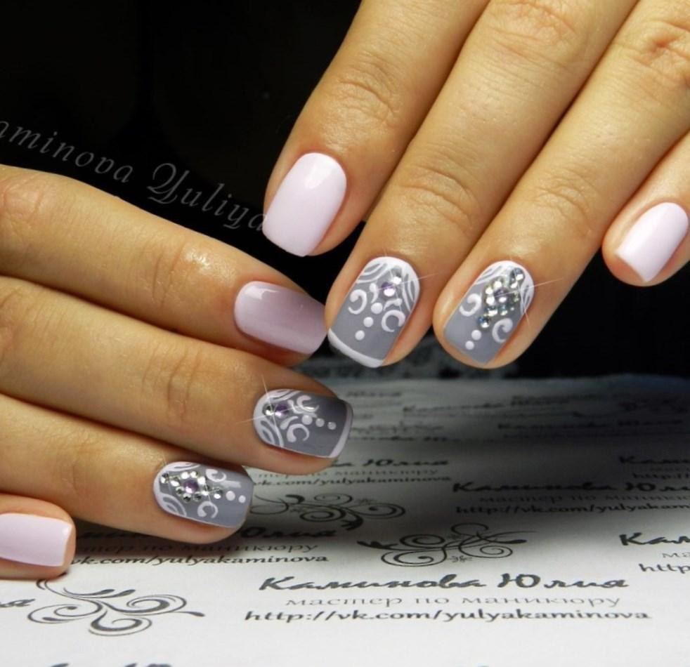 Ногти серый и белый фото