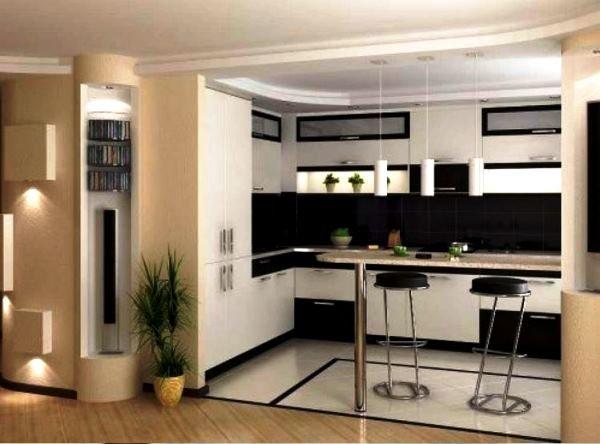 Кухня в студии с барной стойкой дизайн