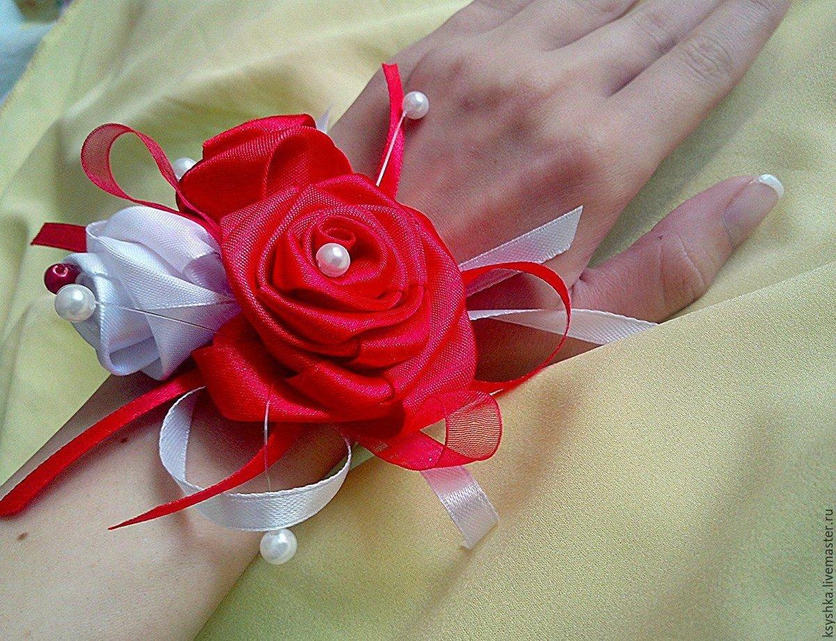 Цветок свадебный из атласной ленты своими руками