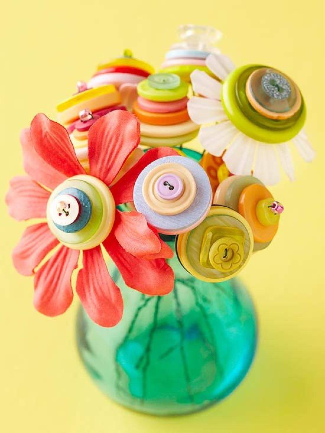 Цветы своими руками из пуговиц своими руками