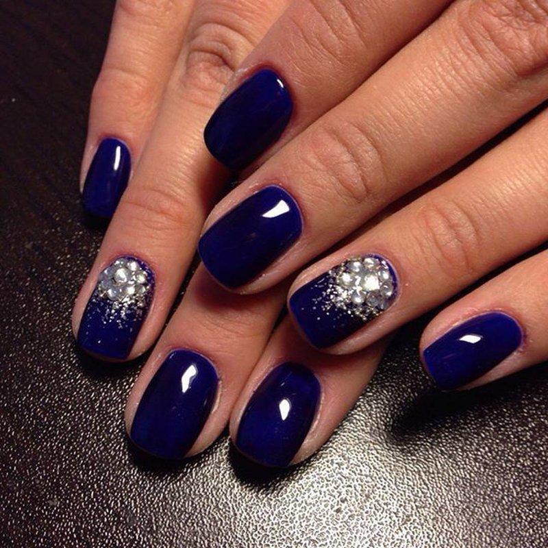 Ногти дизайн синий гель лак