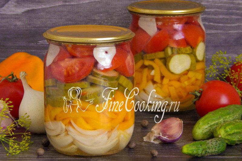 Салаты из помидоров и огурцов лука на зиму рецепты с