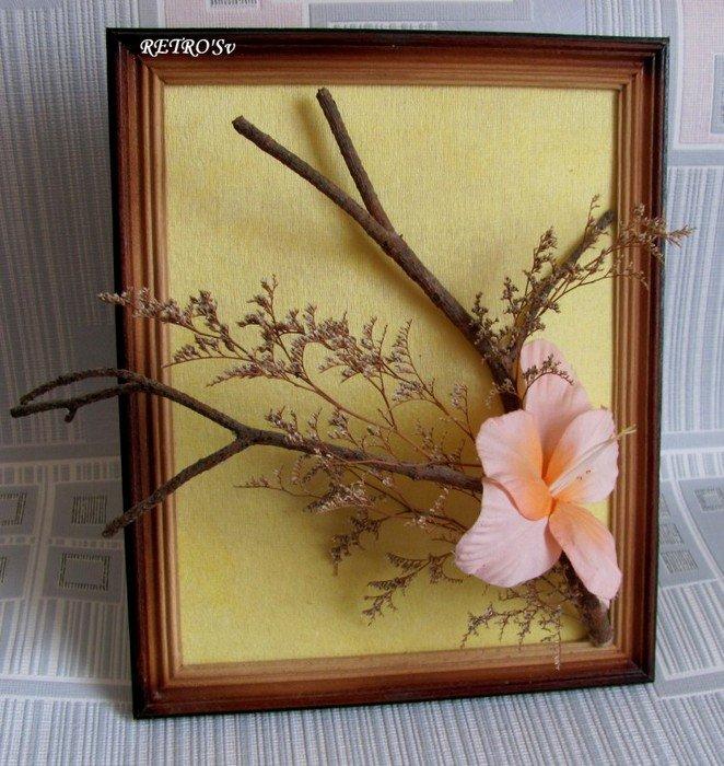 Поделка из цветов в рамке 31