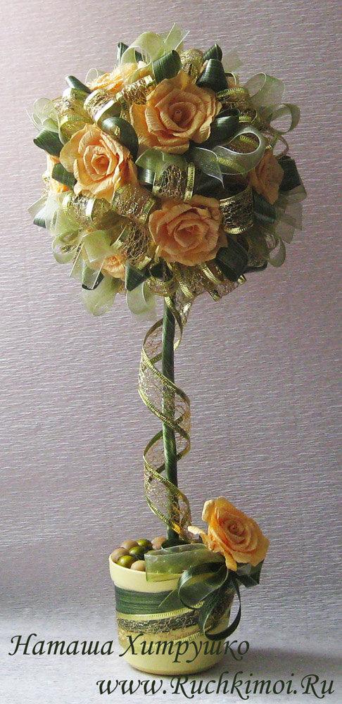 Топиарий из цветы из гофрированной бумаги своими руками