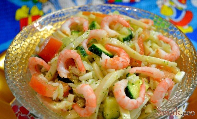Салат креветками кальмарами