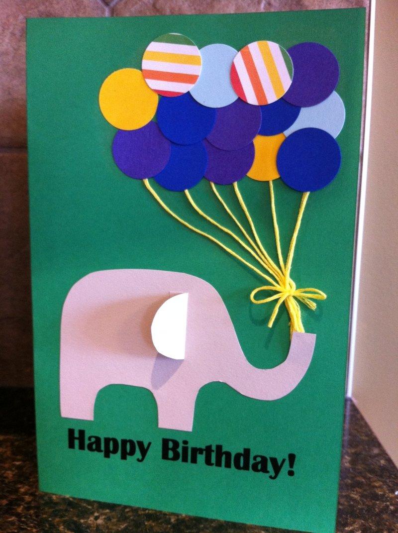 Открытка на день рождения из бумаги и картона