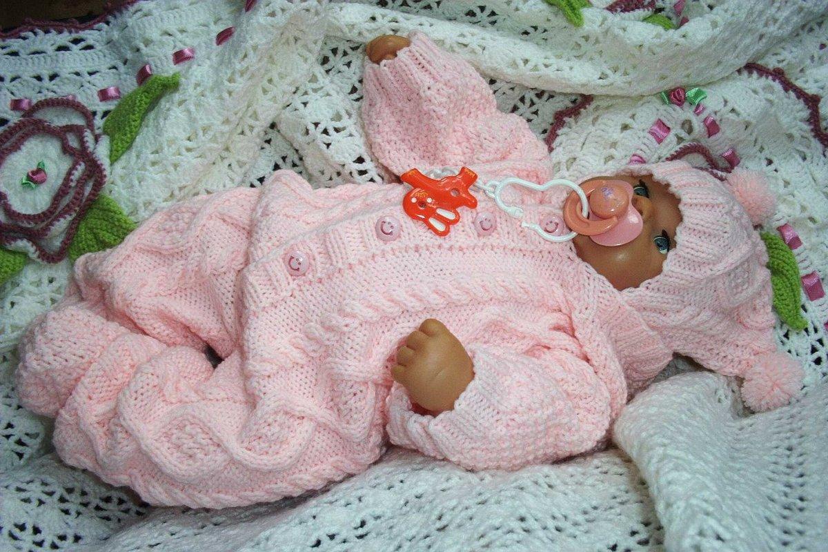 Вязание спицами на новорожденных девочек комбинезон 878