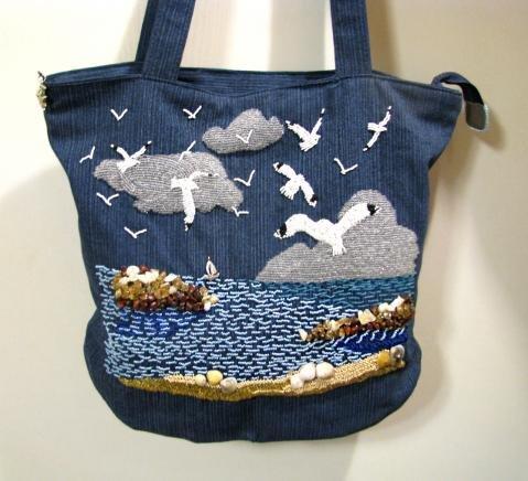 Сшить пляжную сумку из джинс своими руками  681
