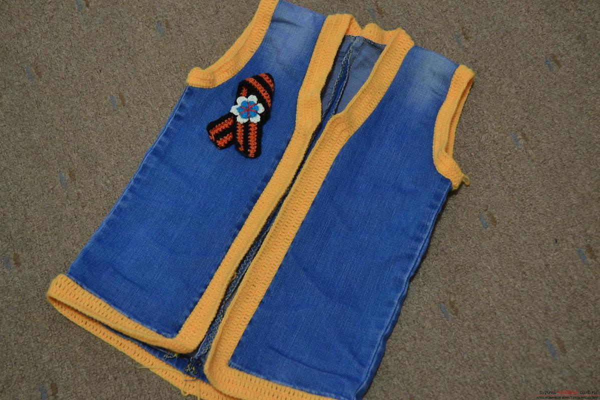 Как сшить детскую жилетку из старых джинсов своими руками