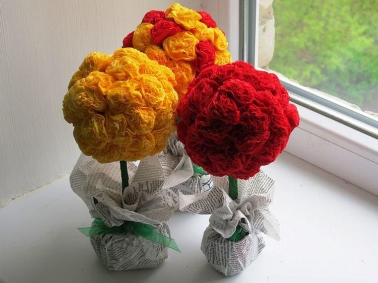 Букет цветы своими руками из салфеток своими руками