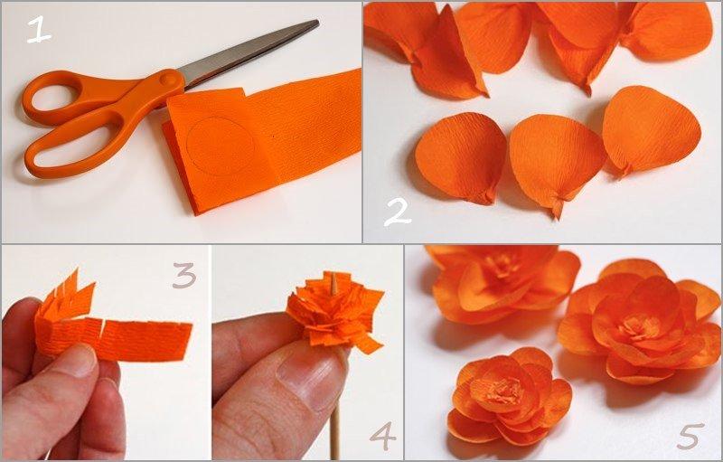 Цветы из гофрированной бумаги своими руками с фото пошаговое