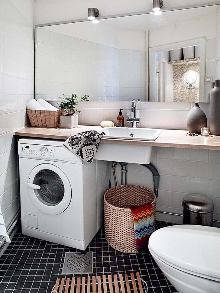 Дизайн маленьких ванных комнат стиралка