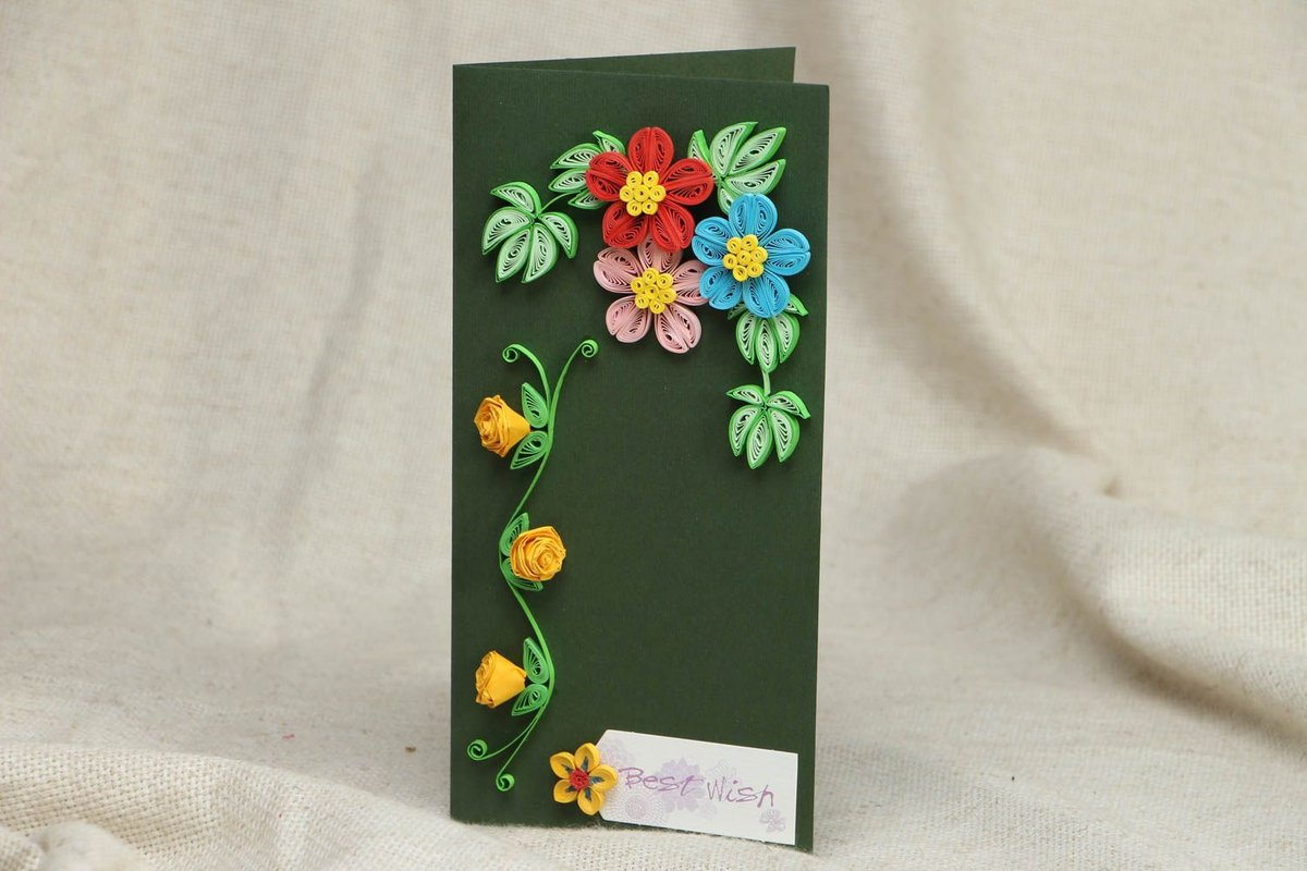 Открытка с объемными цветами 57