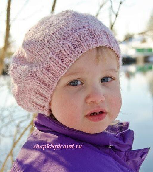 Вязание береток для девочек спицами 197