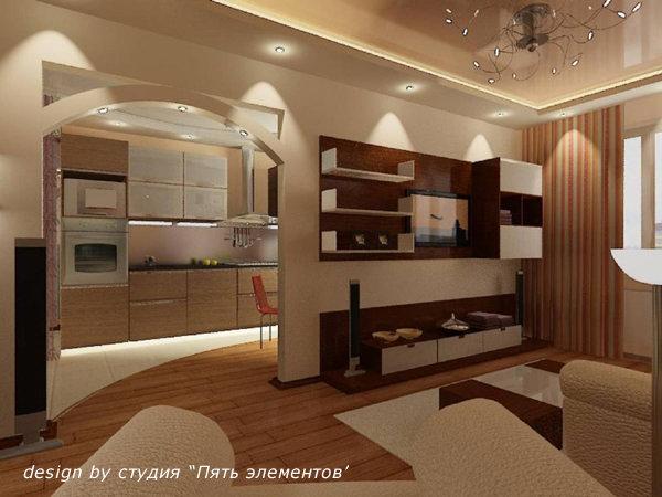 Дизайн арки кухни-гостиной