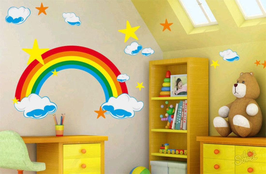 Дизайн стены своими руками в детской комнате 84