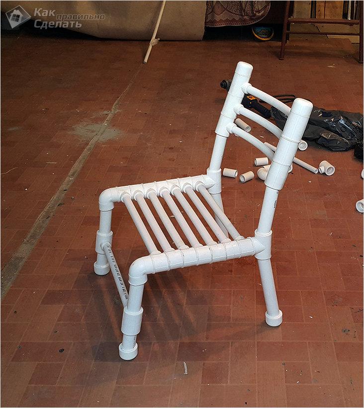 Скамейка из пластиковой трубы своими руками
