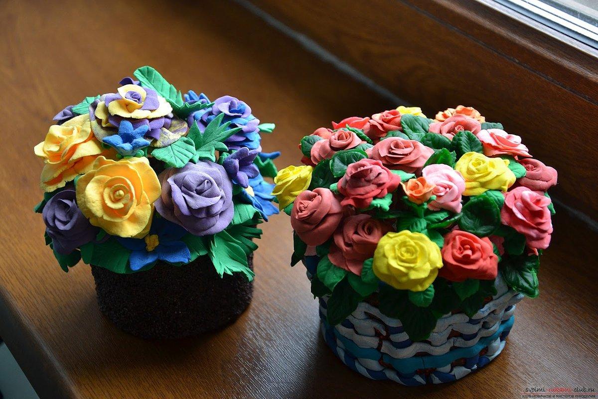 Как сделать цветы из пластилина на бумаге