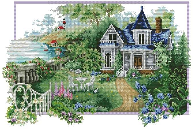 Дом с садом схема вышивки 45
