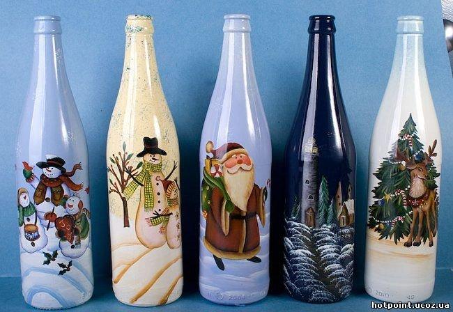 Роспись бутылки новый год