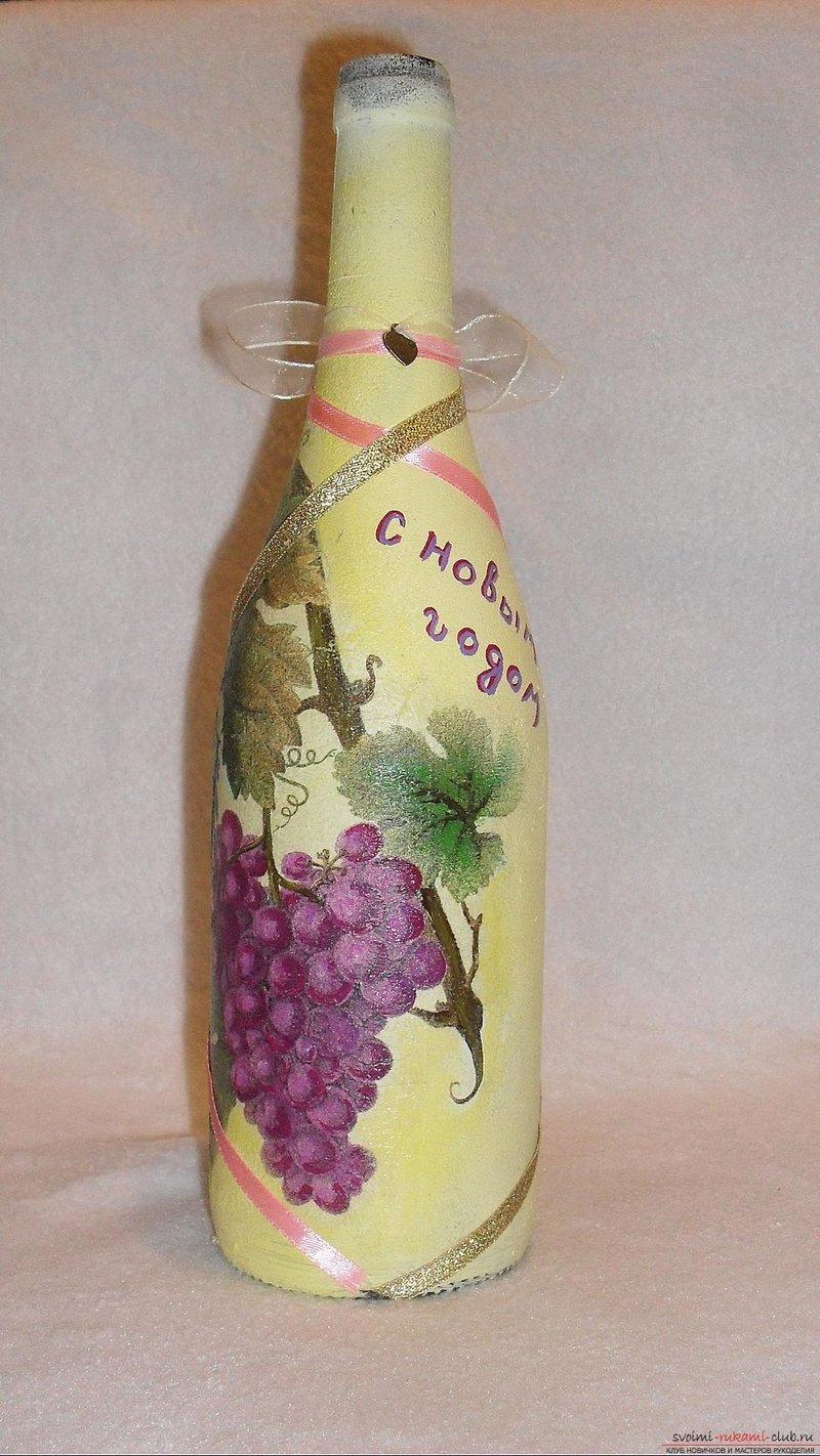 Бутылка в салфетке своими руками