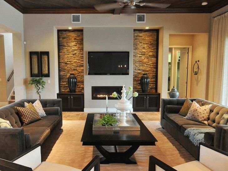 Интерьеры гостиных с электрокамином фото