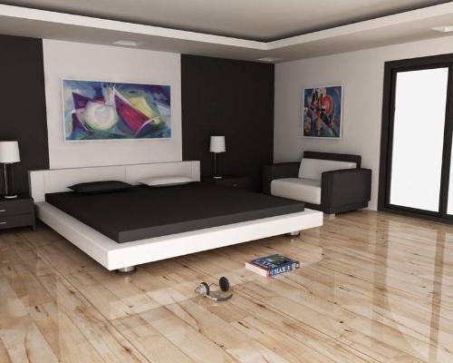 Светлый ламинат в дизайне спальни