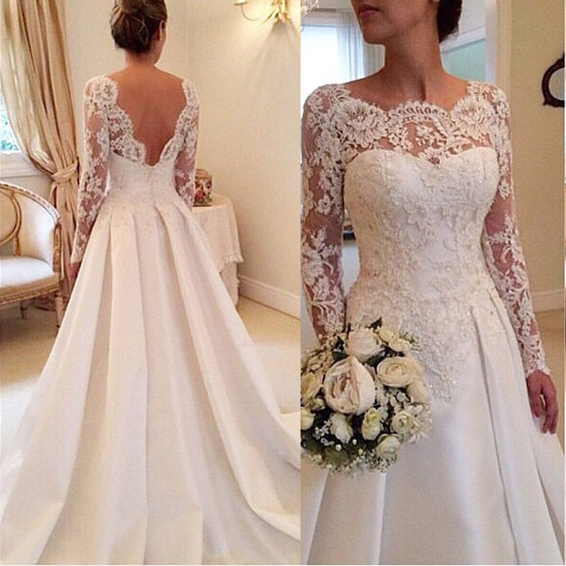 Свадебное платье кружевные с длинными рукавами