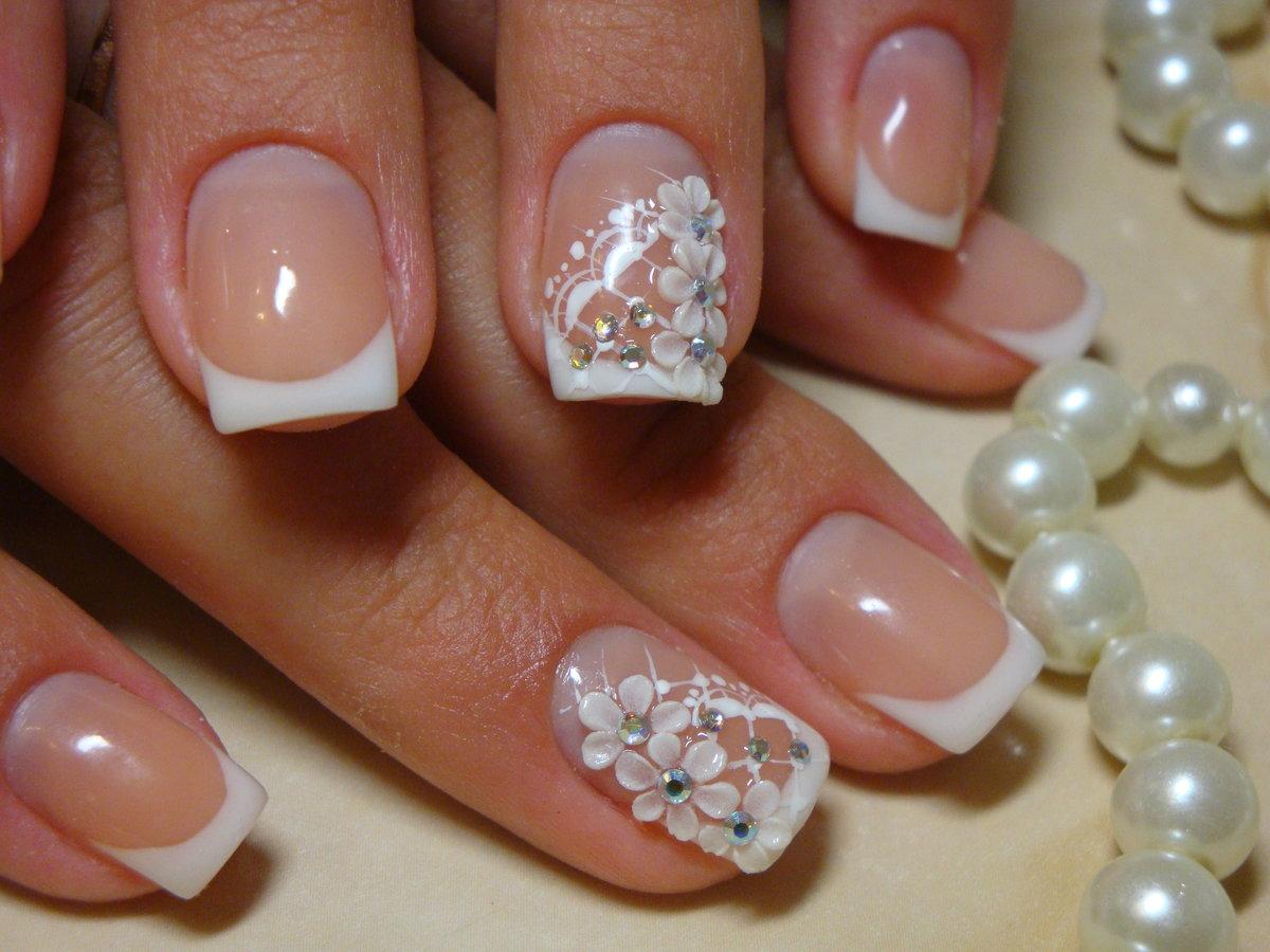 Свадебный маникюр 2017 на короткие ногти дизайн