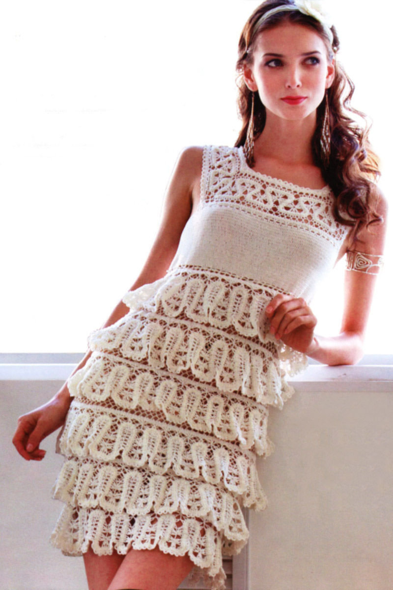 Вязание крючком ажурное платье для женщин 140