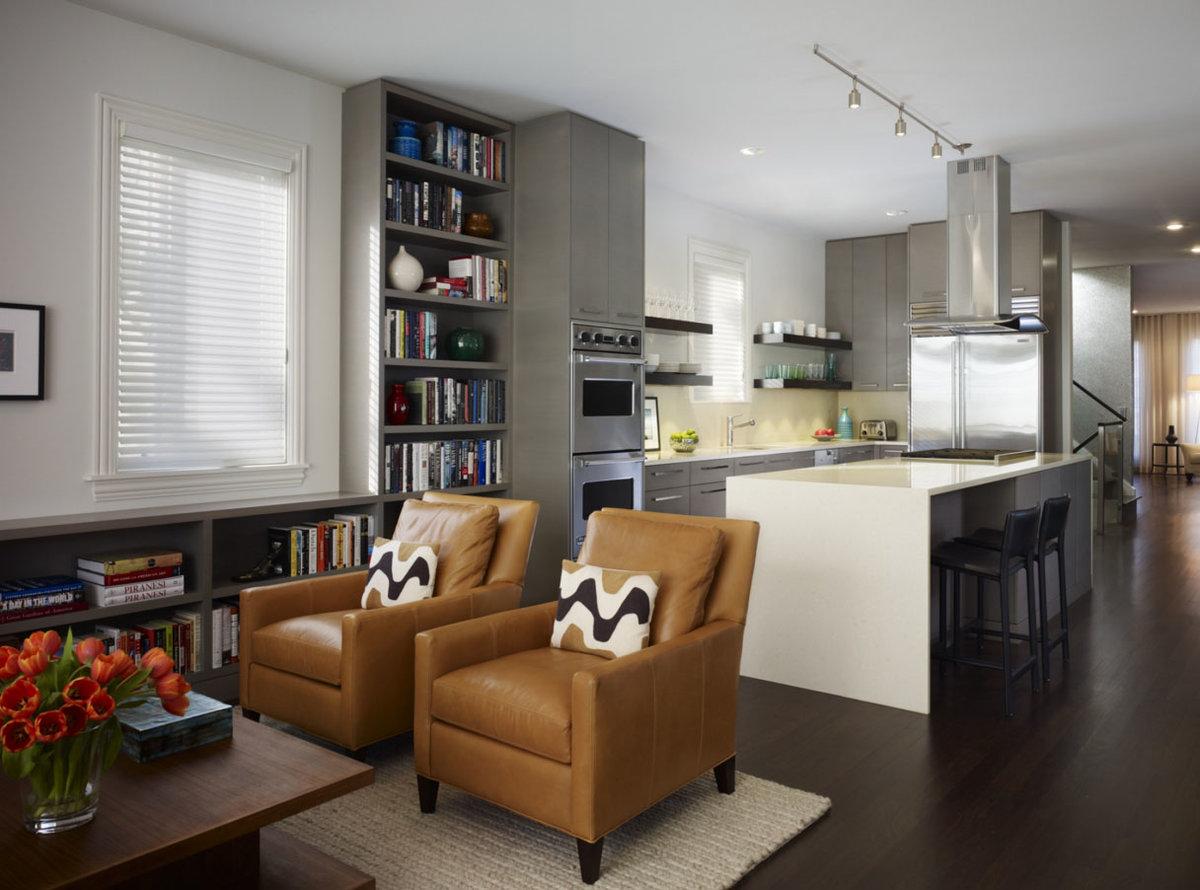 Дизайн интерьера гостиной совмещенной с кухней 25кв.м