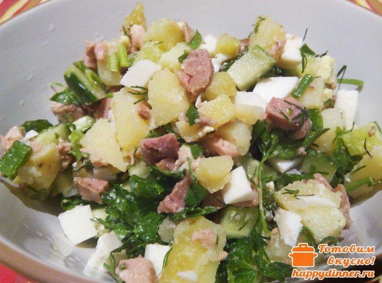 Салат из печени трески с картофелем рецепт с очень вкусный