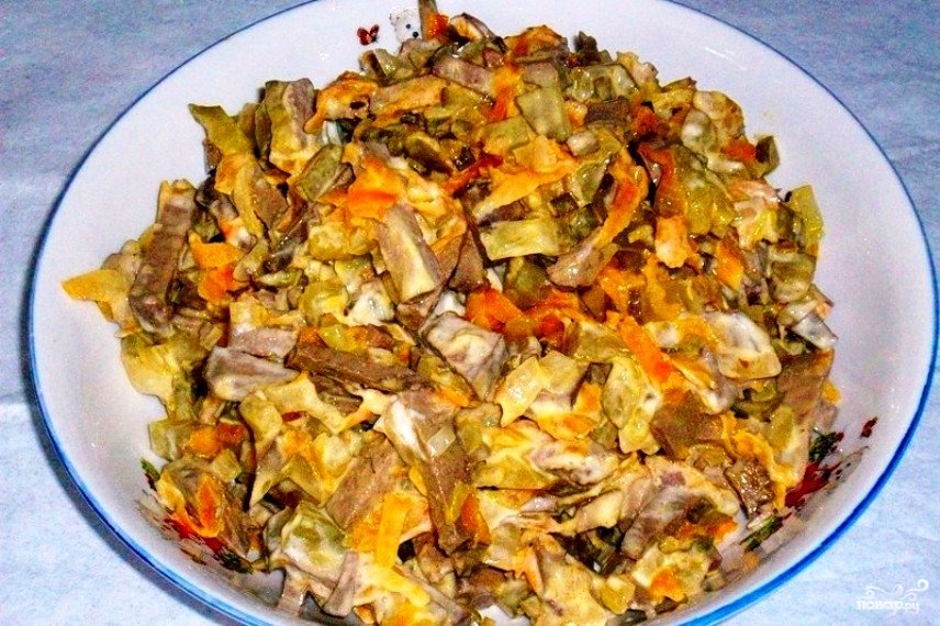 Рецепт салатов из куриной печени обжорка с