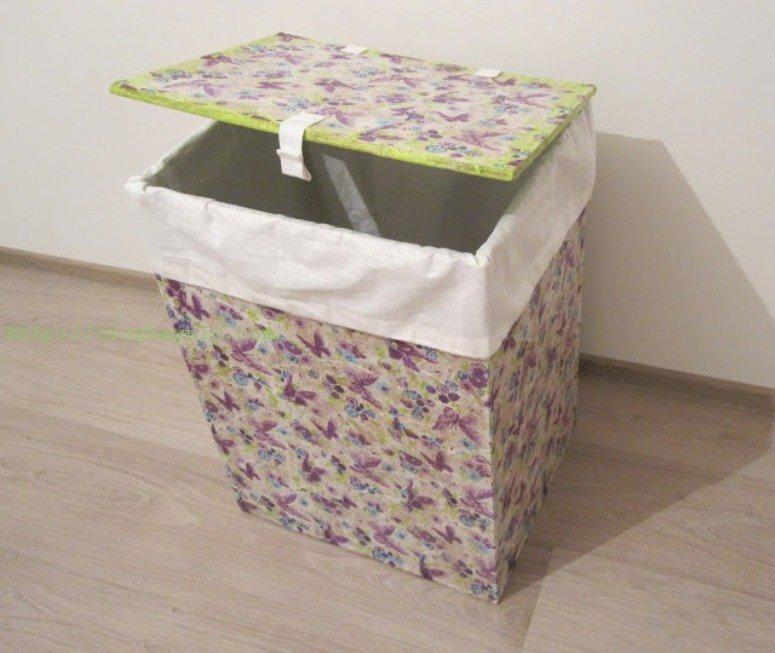 Корзина для игрушек своими руками из картонной коробки 23