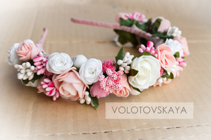 Фоамиран ободок с цветами своими руками