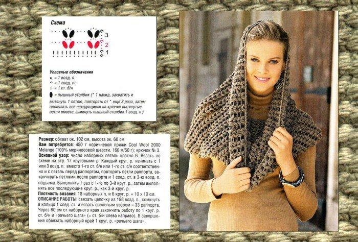 Вязание спицами хомута для женщин 38