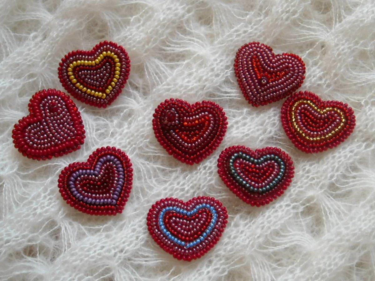 Сердце из бисера схемы и фото