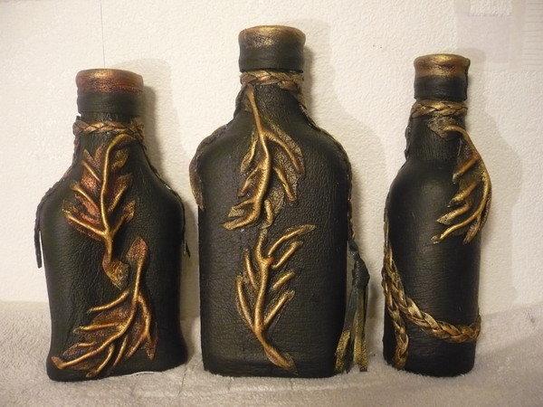 Декор кожей бутылок