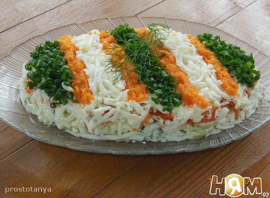 Салаты с морковью и печенью трески