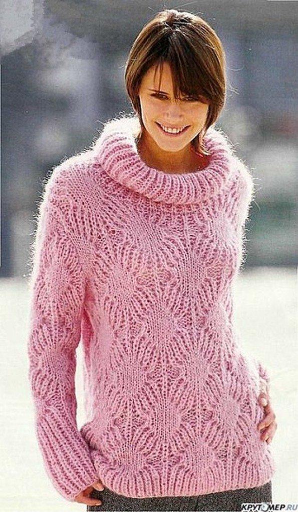 Вязание спицами розовый пуловер 41