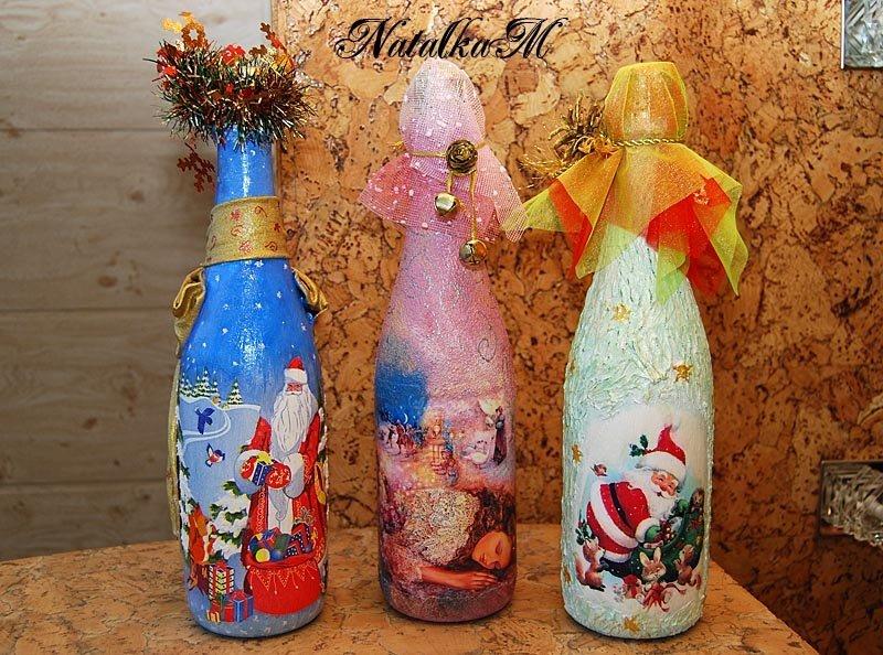 Новогодние бутылки шампанского декупаж мастер класс - Мастер-класс: декор бутылки шампанского атласными лентами