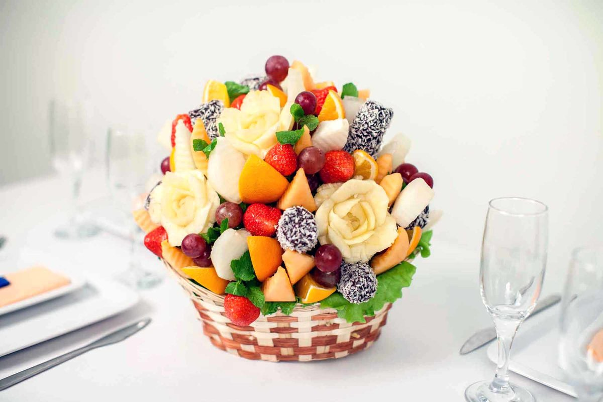 Как сделать букет из фруктов пошаговое