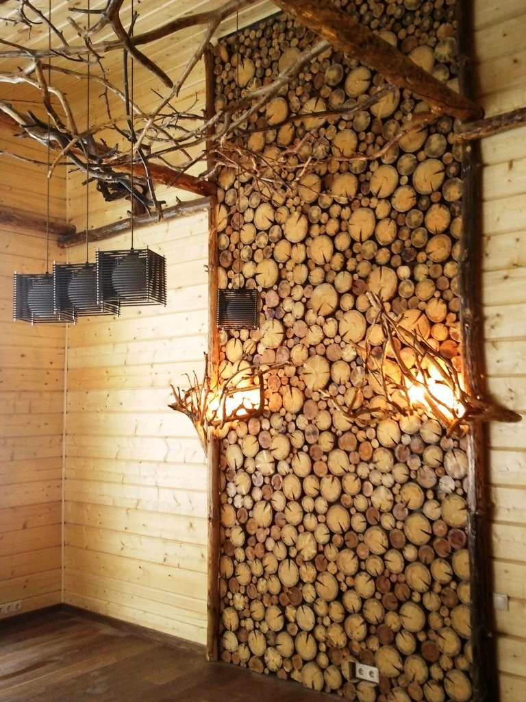 Деревянные спилы в интерьере фото