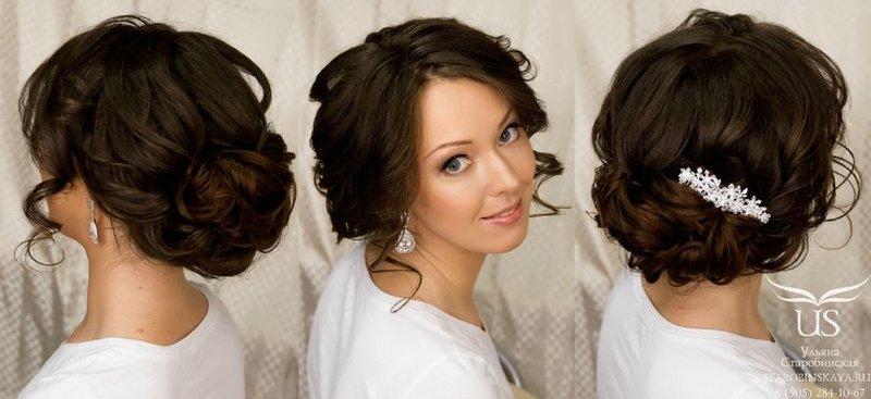 Собранная прическа на средние волосы