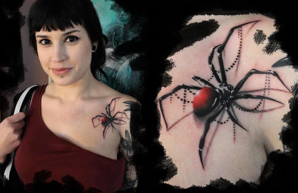 Тату паук для девушки