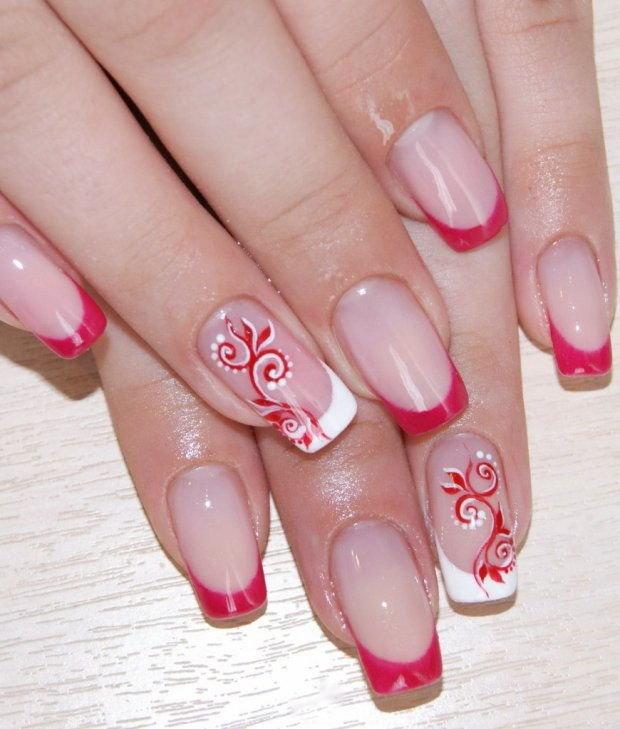 Красивые рисунки на ногтях фото красные