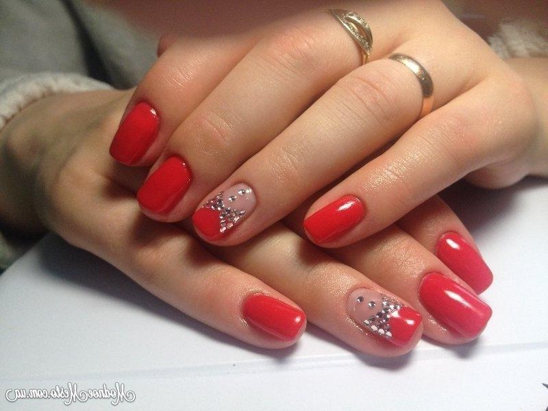 Гель лак на короткие ногти дизайн красный