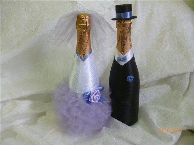 Мастер класс как сделать бутылку на свадьбу - Как украсить бутылку шампанского своими руками на